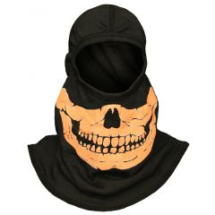 Fire Ink Glow In The Dark Orange Skull Hood