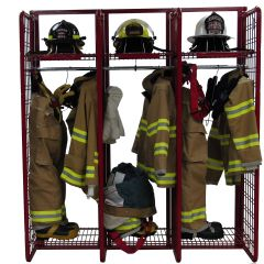"Wall Mounted Red Rack™ Turnout Gear Storage System - 24"" Wide Sections"